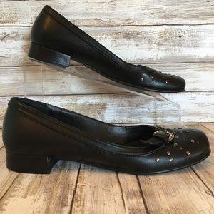 San Marina Size 9 Black Leather Embellished Loafer